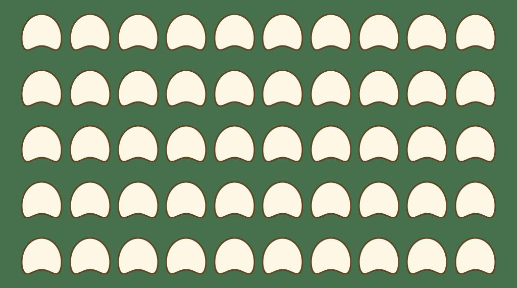 5 Reihen a 10 Stühlen sind zu einem Sitzblock angeordnet