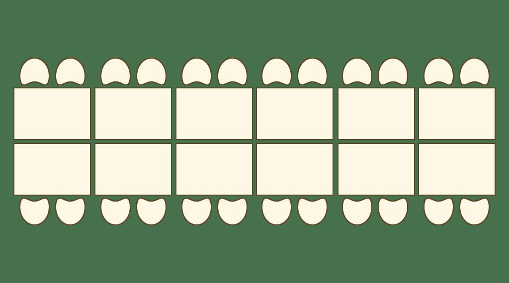 je zwei Tische stehen sich an langer Seite gegenüber und werden an kurzer Seite zu einem langen Block aneinandergereiht